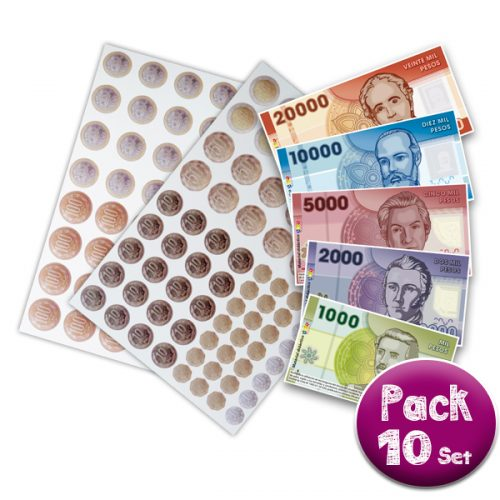 PACK DE 10 SET DE MONEDAS Y BILLETES